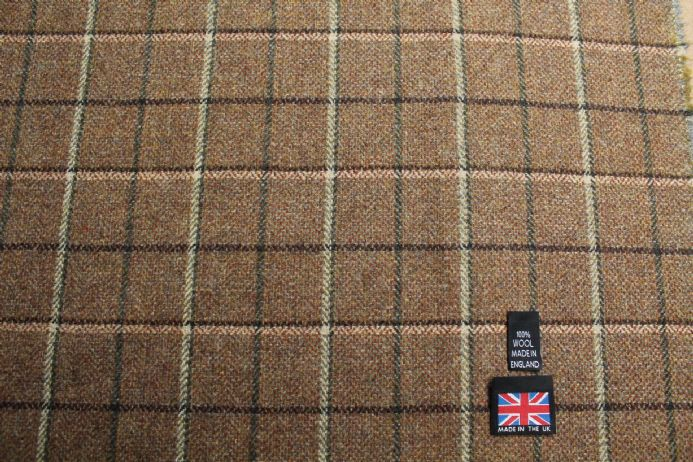 100% Pure New Wool Small Check Tweed Fabric | BZ55